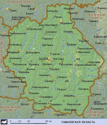 Карта рек Тамбовской области